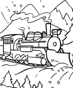 train coloring pages for napkins or table runner