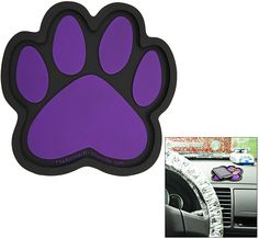 """Purple Paw Dashboard Caddy  Item #43954. Not again! Your cell phone's under the seat, your sunglasses are on the passenger side floor, and your MP3 player must be in the car somewhere... Paw power to the rescue! Our nonslip car caddy keeps your essentials on the dashboard, right where you want them.    Non-slip PVC, with lip around edge  6"""" H x 6.25"""" W (15.2 x 15.9 cm)  Imported"""