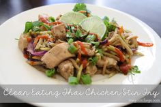 Clean Eating Thai Chicken Stir Fry. A great replacement for all of those pad thai lovers out there! Must try!