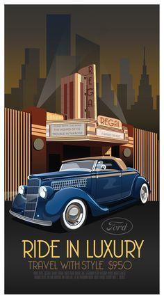 Art Deco Car Poster by Derek Walker, via Behance