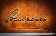 1950s Classic Car Emblem - Belvedere - retro fifties chrome logo rust hot rod nostalgia auto 12x18 via Etsy