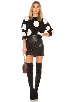 Alice + Olivia Gleeson Polka Dot Sweater in Black & White | REVOLVE