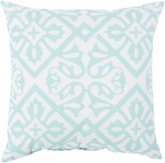 A perfect pillow for the porch, this outdoors safe polyester pattern in mint and ivory is sweet and simple. From Surya. (RG-064)