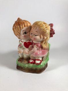 Vintage Lefton Planter- Boy Girl Bench Valentines Pink Bow RARE
