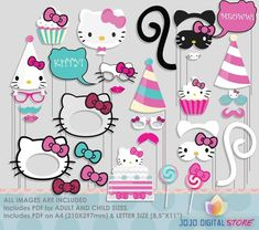 Kitty Photo Booth Props colorful by JoJoDigitalStore on Etsy Chat Hello Kitty, Hello Kitty Photos, Hello Kitty Theme Party, Hello Kitty Themes, Photos Booth, Photo Booth Props, Anniversaire Hello Kitty, Cumpleaños Diy, Hello Kitty Imagenes