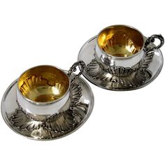 Preowned Pair Of French Sterling Silver Vermeil Coffee/tea Cups... (6,670 CNY) ❤ liked on Polyvore featuring home, kitchen & dining, etc, kitchen, other and multiple