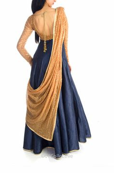 navy and gold floor length anarkali