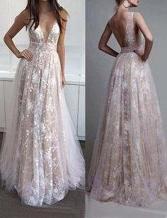 prom dresses,prom dress,A-Line prom dress,Deep V-Neck prom dresses,Sleeveless Tulle Lace Appliques Long Prom Dress