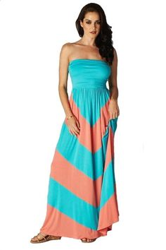 Charm Your Prince Women's Sleeveless Summer Chevron Empire Maxi Dress Turquoise and Coral Medium Cute Maxi Dress, Cheap Maxi Dresses, Floral Maxi Dress, Dress Up, Summer Dresses, Chevron Dress, Colorblock Dress, Coral Chevron, Strapless Dress Formal