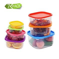 1208S Reusable Food Storage Containers7 Pack SAFE for Microwave  Freezer Plastic Meal Storage Boxes with Multicolore Libs * Click image for more details-affiliate link. #KitchenGlass Containers