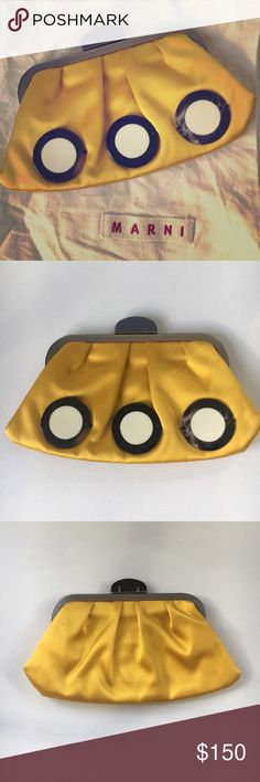 "Marni satin yellow clutch Gorgeous yellow satin disc embellished clutch. Measures 9""x4.5"". Fits iPhone 6s beautiful details. Comes with cloth bag Marni Bags Clutches & Wristlets"