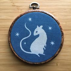 mouse cyanotype on fabric OOAK hoop wall hanging Cyanotype Process, Hand Stitching, Paper Cutting, My Drawings, Printing On Fabric, Hoop, Coin Purse, Wall, Prints