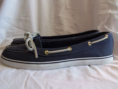 Sperry Top-Sider WO-S Navy slip on boat Shoes Womens size 10M #SperryTopSider #BoatShoes #Casual