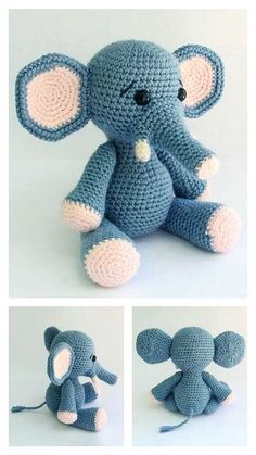 Free Crochet Elephant Pattern & many amigurumi elephant idea... Crochet Animal Amigurumi, Crochet Bear, Crochet Motif, Crochet Toys, Free Crochet, Crochet Patterns, Crochet Animals, Crochet Elephant Pattern Free, Free Pattern