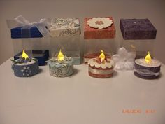 Tealight cakes with acetate box by AhDuckyInk - Cards and Paper Crafts at Splitcoaststampers Cake Slice Boxes, Acetate Cards, Super Cool Stuff, Battery Operated Tea Lights, Light Cakes, Birthday Diy, Craft Sale, Tea Light Candles, Craft Fairs