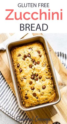 Summer quick breads are the best! Especially when they are gluten free and easy to make in a flash with Bob's Red Mill Flour. This Gluten Free Zucchini Bread with chocolate chips is moist and sweet. Healthy Bread Recipes, Gluten Free Recipes For Breakfast, Gluten Free Breakfasts, Dairy Free Recipes, Vegetarian Desserts, Diabetic Breakfast, Healthy Breakfasts, Gluten Free Zucchini Bread, Chocolate Chip Zucchini Bread