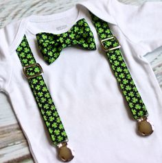 St. Patricks Day Outfit, Baby Boy Clothing, Bow Tie with Suspenders by babyOclothing on Etsy https://www.etsy.com/listing/219517027/st-patricks-day-outfit-baby-boy-clothing