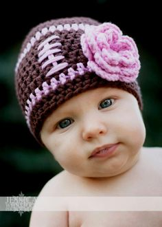 Baby Girl Football Beanie Hat Pretty In Pink Toddler 3 - 6 month to 2 Years  - Cute Photo Prop. $20.00, via Etsy.