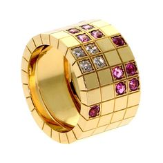 Cartier Pink Sapphire Diamond Yellow Gold Ring | From a unique collection of vintage band rings at https://www.1stdibs.com/jewelry/rings/band-rings/