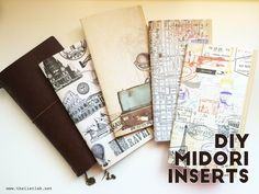DIY Midori Inserts// Midori Travelers Notebook or MTN is basically composed of a leather cover that holds one or more notebook inserts that you can take out, add or interchange by adjusting its elastic/s. Travelers Notebook, Midori Inserts, Bullet Journal, Journal Notebook, Notebook Ideas, Handmade Books, Book Binding, Smash Book, Book Making