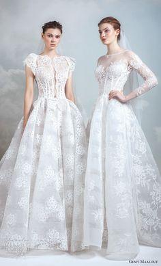 gemy maalouf 2019 bridal short butterfly sleeves bateau neck full embellishment princess ball gown a line wedding dress (12) mv -- Gemy Maalouf 2019 Wedding Dresses | Wedding Inspirasi #wedding #weddings #bridal #weddingdress #bride ~
