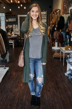 Olive Open Front Two Toned Long Sleeve Kit Cardigan – UOIOnline.com: Women's Clothing Boutique