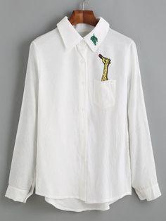 White Giraffe Embroidered Dip Hem Shirt Mobile Site
