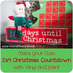 How to Make a 2x4 Chalkboard Christmas Countdown by www.RaisingMemories.com