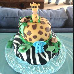 Safari Baby Shower Cake #safari #cake #babyshower