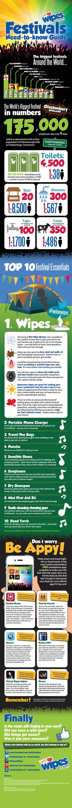 Festival season is upon us again!! We Love Wipes have come up with the ultimate We Love Wipes Need-To-Know Guide for Festivals! From toilet to person ratios, to the must have festival apps and even a quick and easy hygiene guide to stay fresh while you are living awesome memories that will last a lifetime. (Assuming you can remember them)
