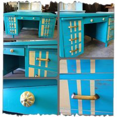 Vintage Charm and Restoration  Blue Retro Striped Desk