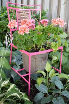 Transforming a curbside find into a bright and cheery garden treasure. Click through to the step-by-step tutorial of how a rusty, moldy patio chair found along the curb was upcycled into a useful a cheery planter holder for the garden. SustainMyCraftHabit.com