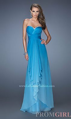 Long Strapless Open Back Ombre Gown at PromGirl.com A-Line
