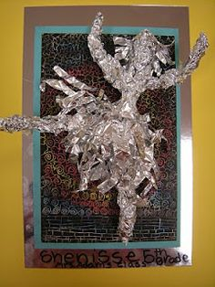 They started out making their own scratch paper using oil pastels and black paint. they formed a figure doing some kind of action out of tin foil.