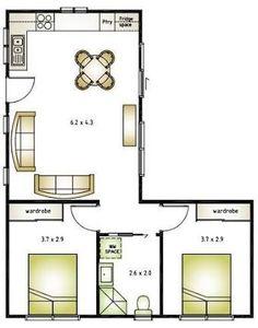 Képtalálatok a következőre: L shaped 50 sqm granny flat plan L Shaped Tiny House, L Shaped House Plans, Small Cabin Plans, Small House Floor Plans, Granny Flat Plans, Granny Pods, 2 Bedroom House Plans, Apartment Floor Plans, Apartment Layout