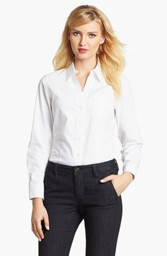 Foxcroft Long Sleeve Shirt available at #Nordstrom Best white shirt of all time...and other colors too!