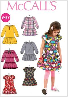 McCalls Pattern 6982 Easy drop.waist dress with 6 variations. Have one copy each size (2-5) (6-8)