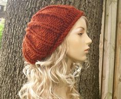 Hat Knitting Pattern PDF for The Chunky Rolled Brim Ribbed Beret Hat from Etsy Shop pixiebell ($5.00)