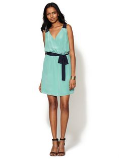 Silk V-Neck Wrap Dress by The Letter at Gilt
