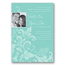 Flourishing Photo Wedding Invitation - Lagoon