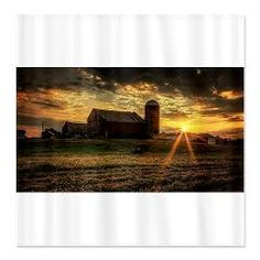 sunrise over barn Shower Curtain > sunrise over barn > Off the Wall