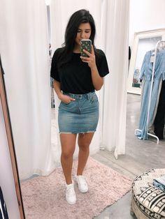 Lee Denim Skirt - May 04 2019 at Denim Skirt Outfits, Denim Outfit, Denim Skirts, Denim Skirt Outfit Summer, Jean Skirts, Outfits With Jean Skirt, Denim Mini Skirt, Casual Skirts, Casual Outfits