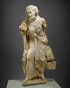 Marble statue of an old woman  Early Imperial  A.D. 14-88