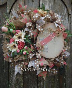 Elegant  Burlap Chic Easter Egg Wreath Easter by FancyThatDecor