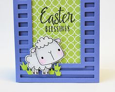 Card by Amy Rohl. Reverse Confetti stamp sets: All About Ewe and Easter Blessings. Confetti Cuts: All About Ewe and Striped Frame Cover Panel. RC 6x6 paper pad: True Love. Easter card. Spring card.