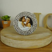 New fashion crystal round metal Photo Frame DIY Picture Frame Wedding Favors Handmade Jeweled Picture Frame frame handicraft(China (Mainland))