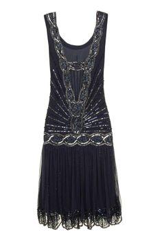 NAVY SEQUIN CHARLESTON FLAPPER uk 8 10 12 GATSBY dress 20's ART DECO #20s #Cocktail