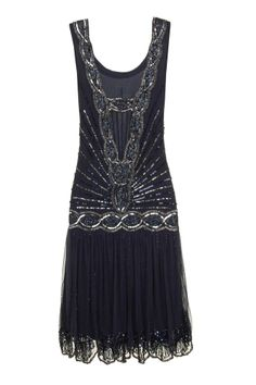 NAVY SEQUIN CHARLESTON FLAPPER uk 8 10 12 GATSBY dress 20's ART DECO #20s #Cocktail