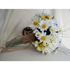 Daisy Bouquet Twine Wrap Hippie Bridal silk Wedding Flowers accessories faux daisy country Bridesmaid bokay