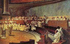 Cicero Denounces Catiline, fresco by Cesare Maccari, 1882-88. -- I love the chairs.